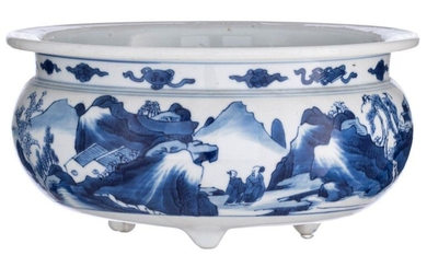 A Chinese blue and white tripod bowl, allover decorated with...