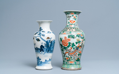 A Chinese famille verte vase and a blue and white vase, 19th C.