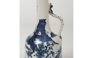 A Chinese transitional style blue and white ewer. With scrol...
