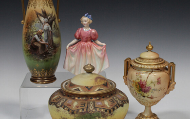 A Continental vase and cover, early to mid-20th century, the bulbous body painted with a blush lands