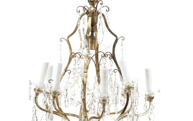 NOT SOLD. A French crystal chandelier and a pair of bracket lamps. Chandelier late 20th...