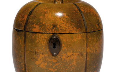 A GEORGE III STAINED FRUITWOOD MELON-SHAPED TEA CADDY