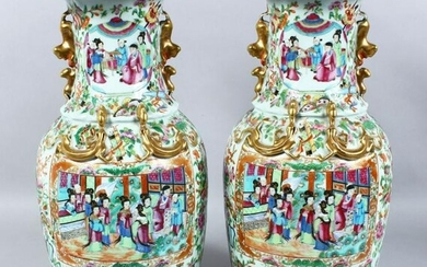 A GOOD PAIR OF 19TH CENTURY CHINESE CANTON FAMILLE ROSE
