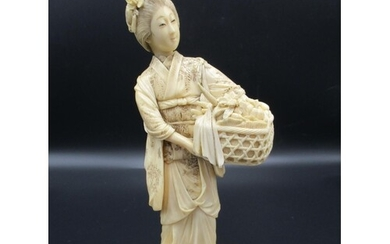 A Japanese Meiji period ivory okimono, modelled as a woman i...