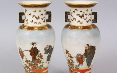 A LOVELY PAIR OF JAPANESE MEIJI PERIOD SATSUMA VASES BY