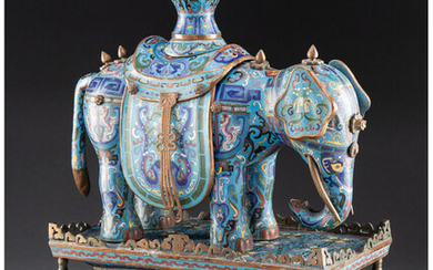 A Large Chinese Cloisonne Enamel Taiping Youxiang Elephant and Vase