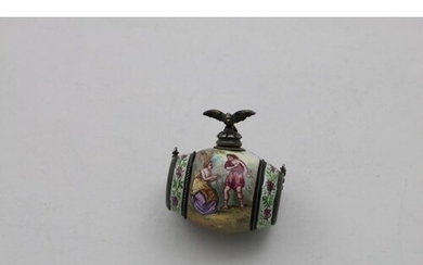 A MID 19TH CENTURY AUSTRO-HUNGARIAN ENAMELLED SCENT BOTTLE i...