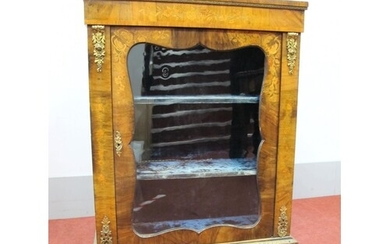 A Mid XIX Century Walnut Marquetry Inlaid Pier Cabinet, with...