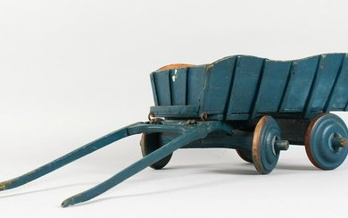 A PAINTED WOOD MODEL OF A HORSE DRAWN CART. 13ins long