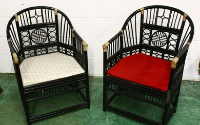 A PAIR OF CHINESE WICKER BAMBOO STYLE BLACK ARM CHAIRS