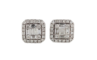 A PAIR OF DIAMOND CLUSTER EARRINGS, with baguette and brilli...