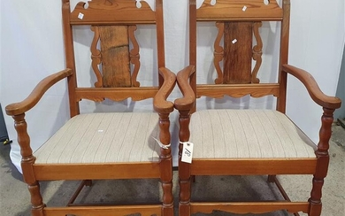A PAIR OF PINE CARVER CHAIRS