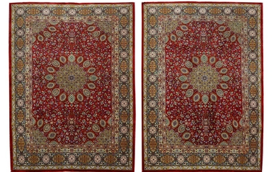 A PAIR OF VERY FINE PART SILK TABRIZ RUGS, NORTH-WEST PERSIA