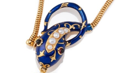 A PEARL AND ENAMEL SERPENT LOCKET NECKLACE; silver gilt serpent in royal blue enamel with cabochon garnet eyes suspending an heart s...