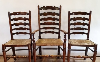A Pair of Early 20th century oak hall chairs, another pair,...