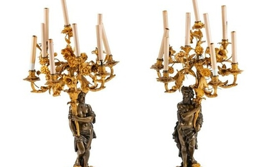 A Pair of Parcel-Gilt and Patinated Bronze Figural