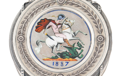 A RUSSIAN SILVER AND ENAMEL 'ST. GEORGE SLAYING THE DRAGON' PILL BOX, AFTER 1887