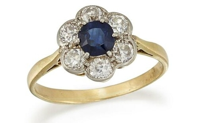 A SAPPHIRE AND DIAMOND CLUSTER RING The circular-cut