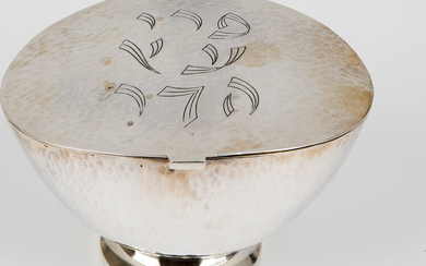 A STERLING SILVER ETROG BOX DESIGNED BY LUDWIG WOLPERT....