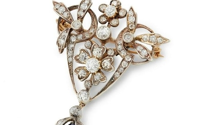 A Victorian sapphire and diamond brooch.