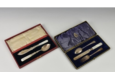 A cased Edwardian silver three piece travelling cutlery set,...
