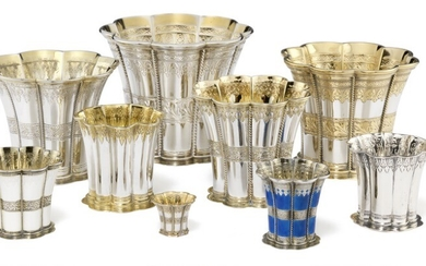 A collection of Danish Margrete beakers of silver and sterling silver. Various makers. Denmark 20th century. H. 2.5–12.5 cm. (9)