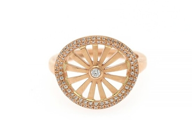 A diamond ring set with numerous brilliant-cut diamonds weighing a total of app. 0.21 ct., mounted in 18k rose gold. Size 55.