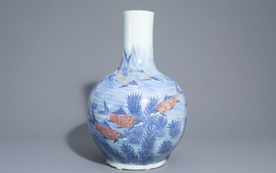 A large Chinese blue, white and copper red...