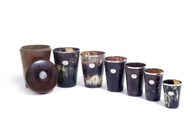 A large collection of Victorian silver-mounted horn beakers, various dates and makers