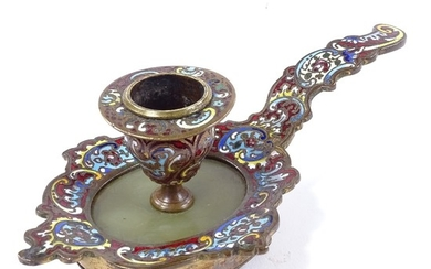 A late 19th century brass and champleve enamel decorated cha...