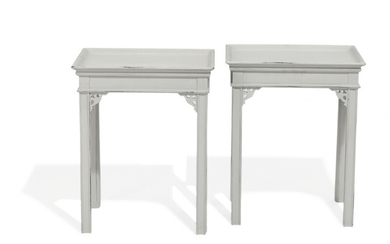A pair of 20th century grey painted side tables, tops with raised edges. Manufactured for C.B. Hansens etabl. H. 56. L. 45. W. 35 cm. (2)