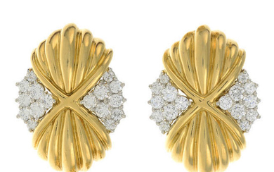 A pair of brilliant-cut diamond and grooved earrings.
