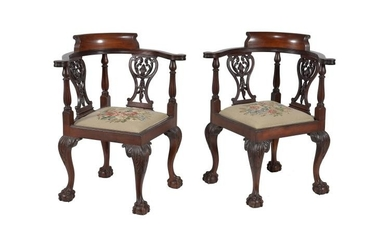 A pair of mahogany corner chairs