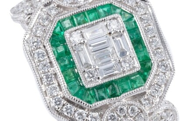 AN 18CT WHITE GOLD EMERALD AND DIAMOND DRESS RING; deco style centring a cluster of 6 baguette and 4 round brilliant cut diamonds, s...