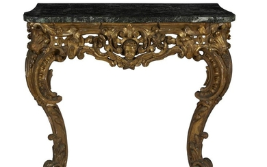 AN 18TH CENTURY GILTWOOD CONSOLE TABLE WITH MARBLE TOP
