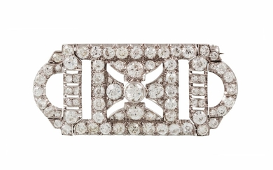 AN ART DECO DIAMOND PLAQUE BROOCH, set throughout with old c...