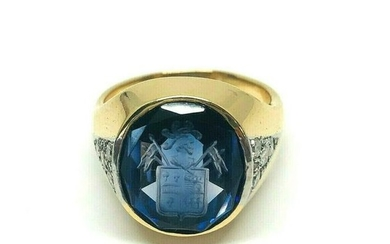 ANTIQUE Carved Sapphire Diamond Signet Ring