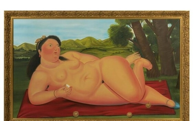 After Fernando Botero - Nude Oil on Canvas