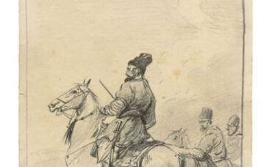 Alexander Orlowski (1777-1832), Kurdish horsemen; Beer drinker; and Senior officer in a tricorne