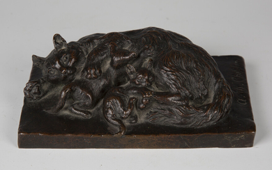 Alice Mary Chaplin - a late Victorian brown patinated cast bronze model group of a cat and her two k