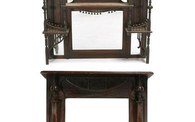 American Victorian Carved Mahogany Mantle with Beveled