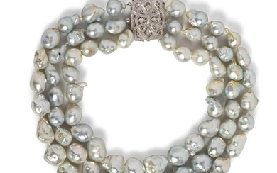 An 18 Karat White Gold, Cultured Baroque Pearl and
