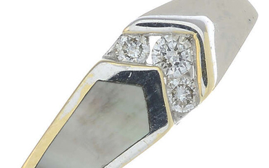 An 18ct gold mother-of-pearl and diamond dress ring.