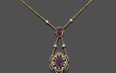 An Early 20th Century Amethyst, Diamond, Seed Pearl and Enamel...