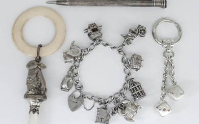 An Elizabeth II Child's Silver Rattle, and mixed silverware,...