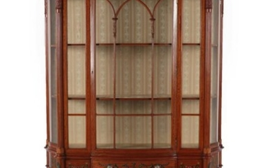 An Exhibition Quality Satinwood and Polychrome Decorated Display Cabinet by...