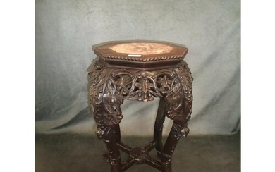 An early 20th century Chinese carved hardwood urn stand, wit...