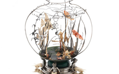 An extraordinary silver, gold and hardstone fishbowl sculpture