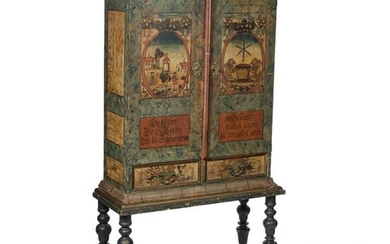 An unusual German baroque cabinet as an armoire of the