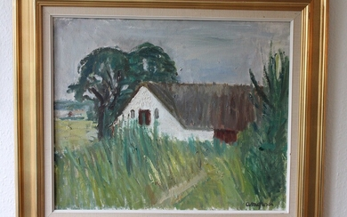 Anne Margrethe Grosell: Summer landscape with a thatched house. Signed AM Grosell. Oil on canvas. 50×60 cm. Frame size 69×80 cm.